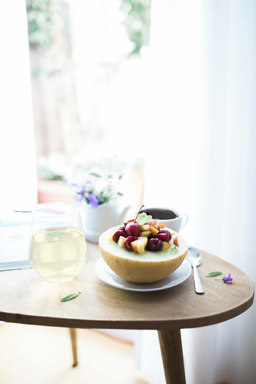 Wonderful breakfast honey melon and coffee