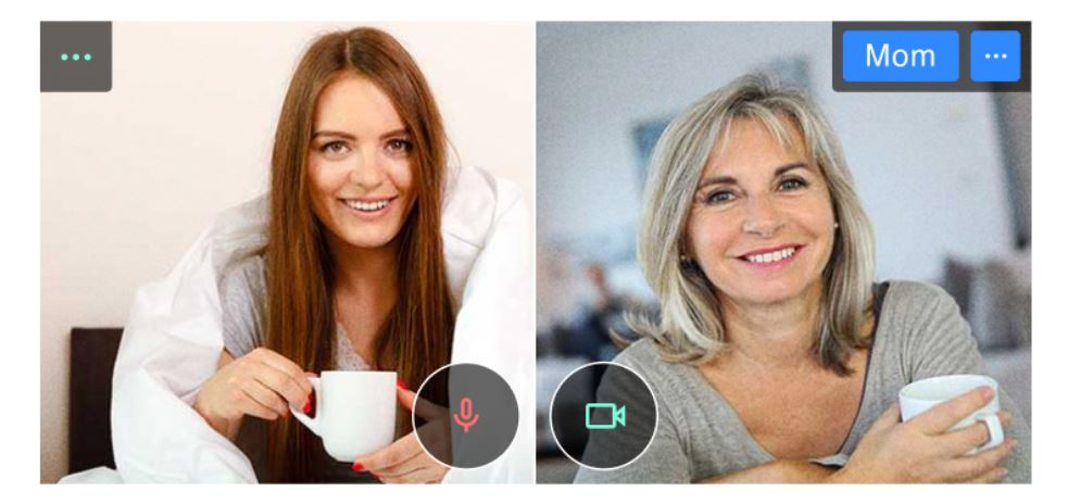 Mother and daughter virtually sharing a coffee