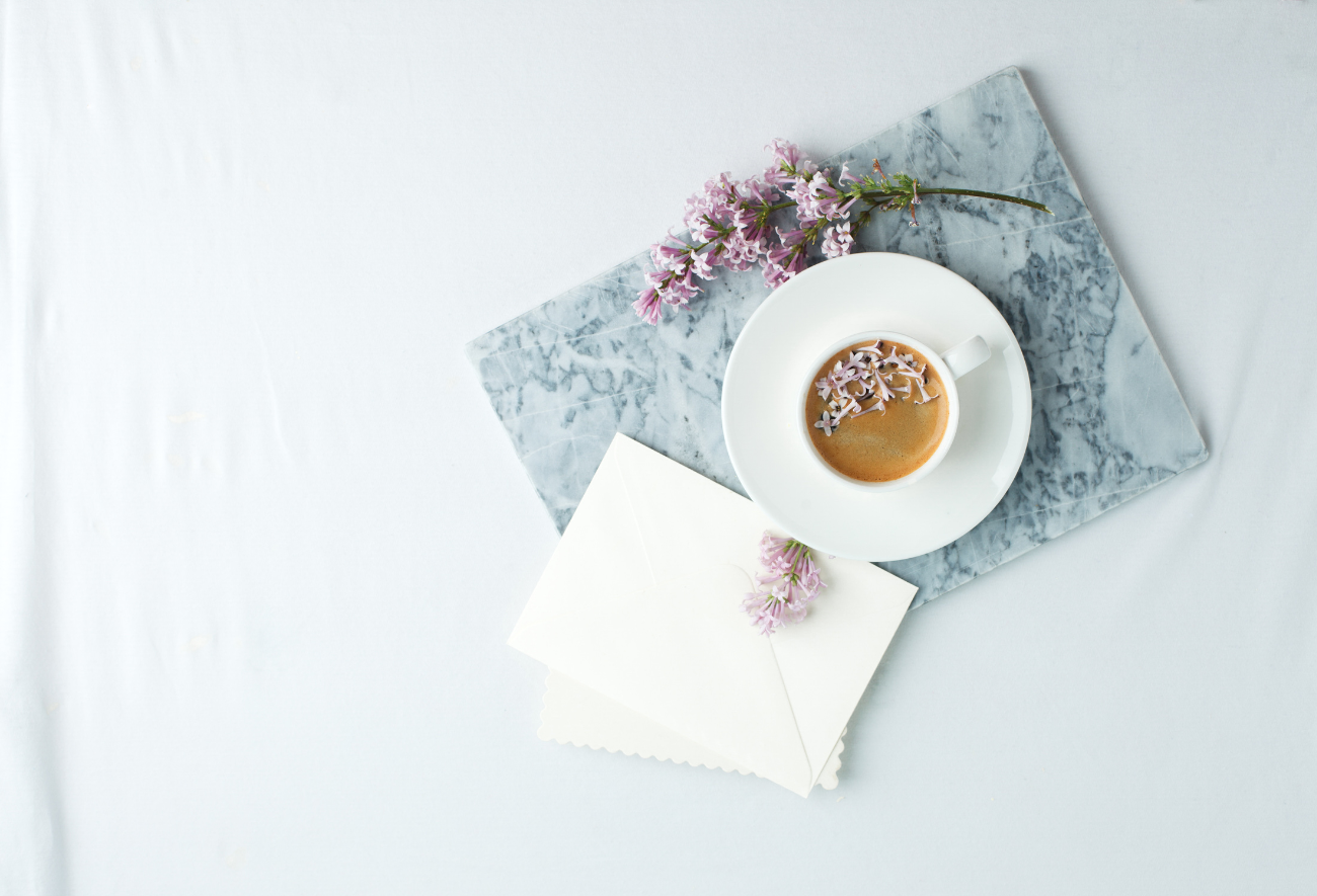 letter-writing stationary with lavender latte