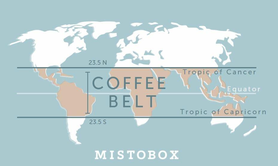 Coffee Belt Map Where Coffee is Grown